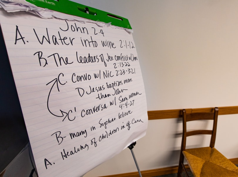 A flip chart with a handwritten bible verse and discussion notes.