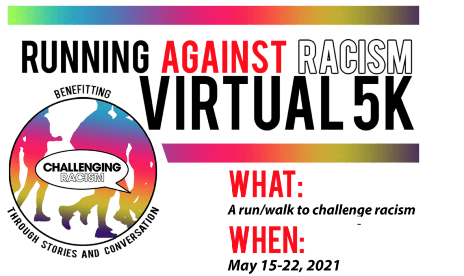A colorful flyer for running against racism virtual 5k