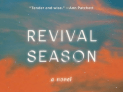 an abstract blue and orange cover of the novel Revival Season
