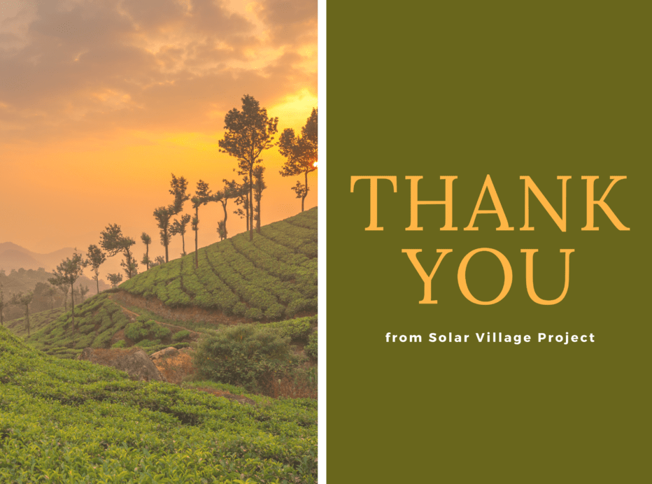 a split image with a hillside at sunset on the left and the words thank you on a green background on the right side