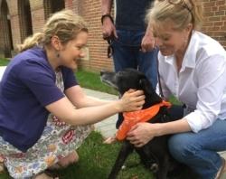 two women kneel down to pet a black dog wearing an orange bandana