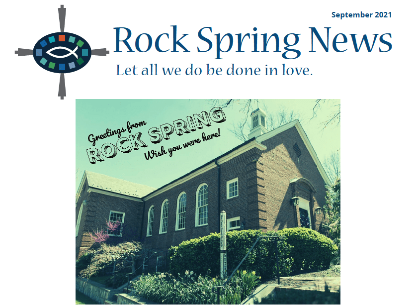 a vintage photo of the Rock Spring church building with the tagline