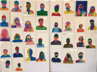 a colorful collage of people