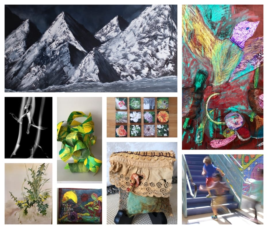 a collage of mixed media art