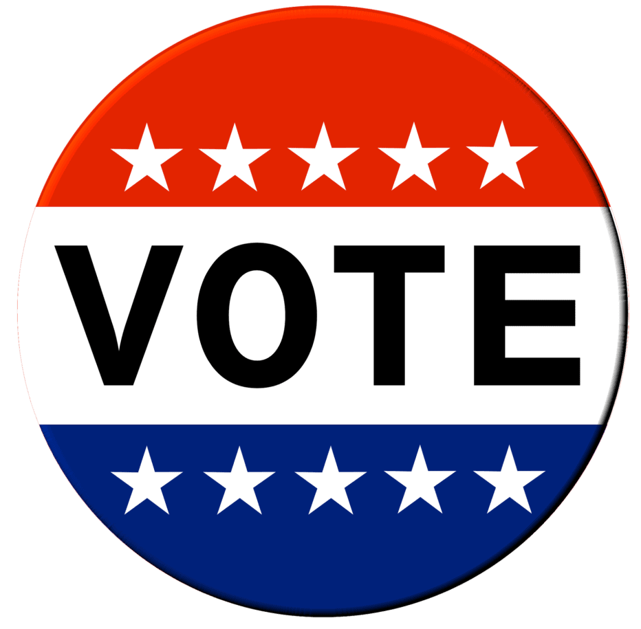 a circle of red and blue with white stars that says vote